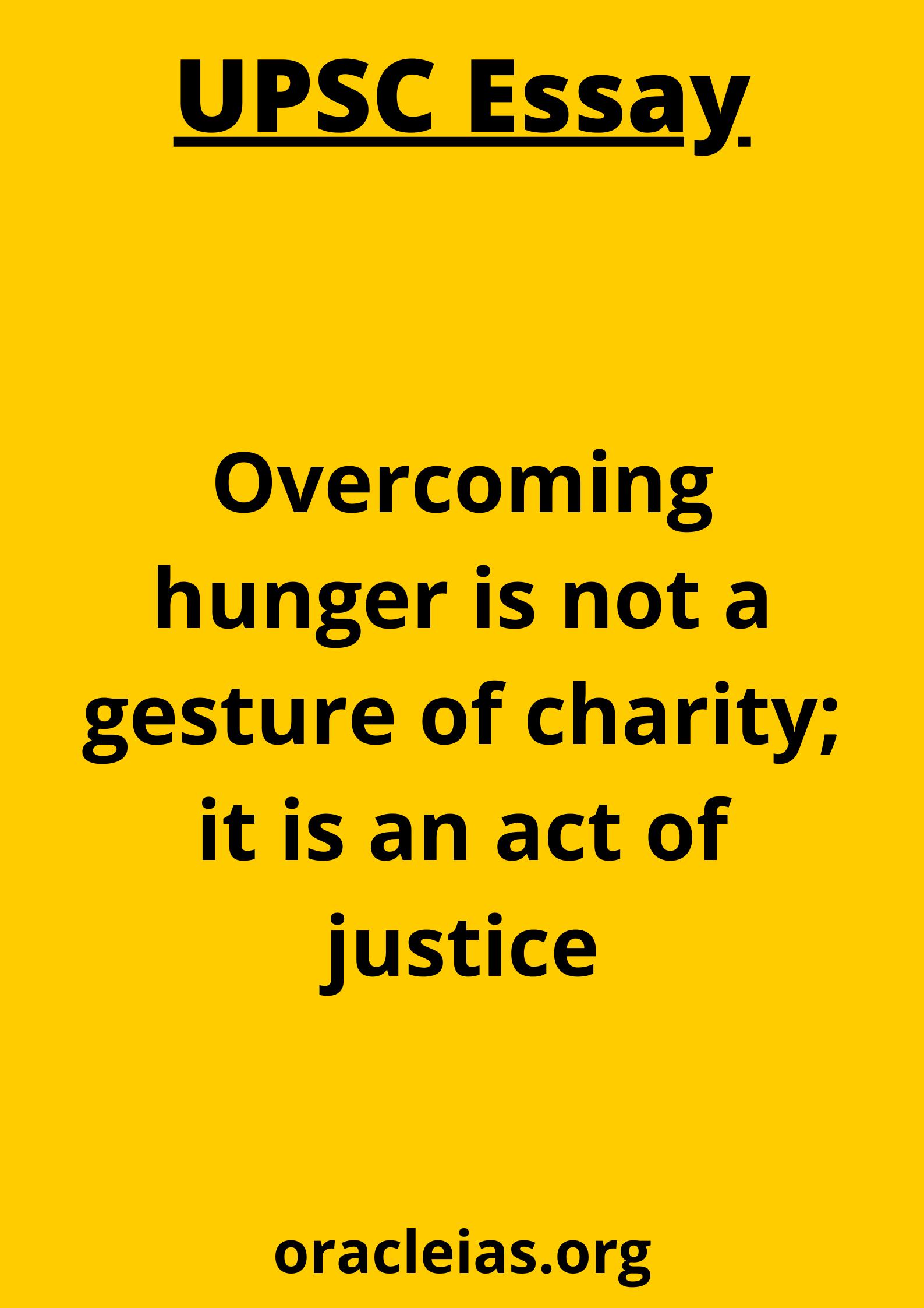UPSC model essay hunger